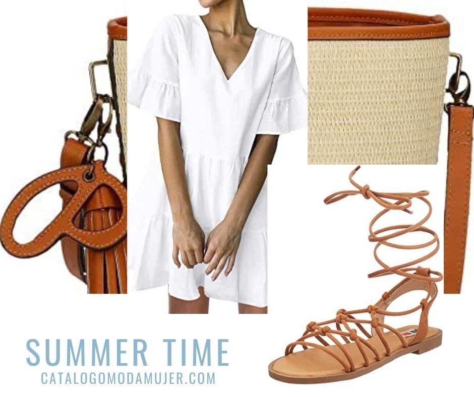 Summer-Time Vestido, Sandalias y Bolso