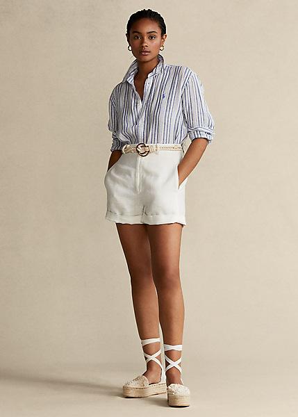 Camisa Rayas azul con bermmudas Catálogo moda mujer con Ralph Lauren