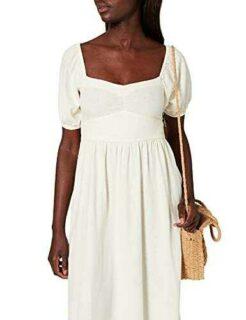 Springfield Vestido Midi Lino Marfil 42 para Mujer b08nwbkx1l