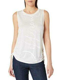 Desigual Tank Drawstring Sides Camiseta Blanco L b08cn788by
