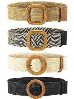 4 Piezas Cinturones de Cintura Elástico de Tejido b086bddkpt