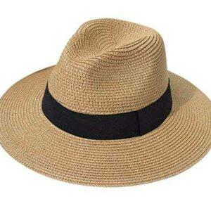 Lanzom Sombrero de paja para mujer estilo panamá b07b8ds416