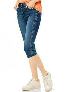 Cecil Toronto Capri Jeans Mid Blue Wash 27W para b08zdp7pcn
