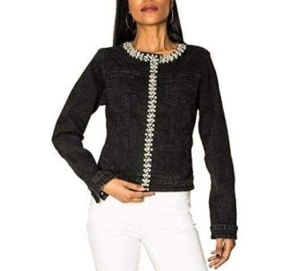 EGOMAXX Chaqueta de Mujer Jeans Beads Chaqueta b08435ttlc