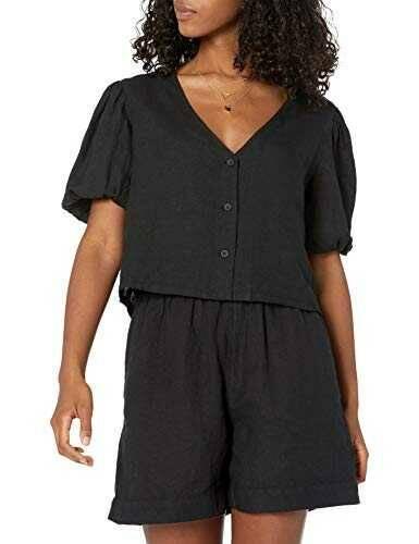 The Drop Camisa para Mujer Priya Corta de Lino con b08v9wcdsm
