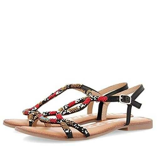Sandalias negras con pedrería multicolor para b07y8ml9xw