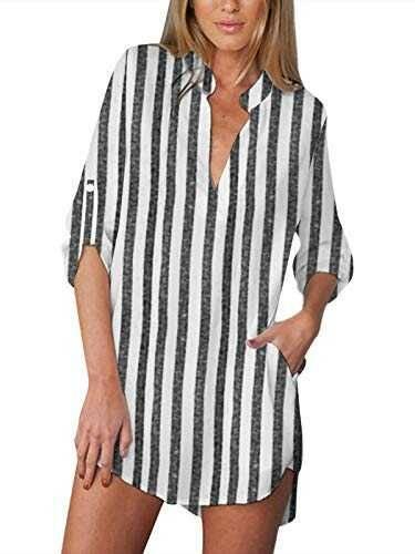 ZANZEA Camisas Mujer Sexy Casual Gasa Camisa Suelta b08xzhbfjm