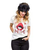 Camiseta Blanca Caperucita Mujer XL. b08khjp976