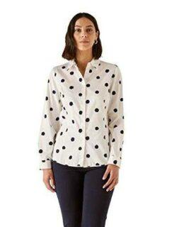 Elena Mirò : Camisa de Lunares Blanco 50 (41) Mujer b08w1p7855