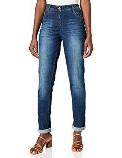 Cecil Toronto Lang Jeans Mid Blue Used Wash 27W x 30L b0969v3c83