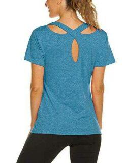 iWoo Camiseta de manga corta para mujer para yoga b0834n2tms