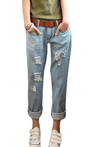 Suvotimo La Mujer Casual Novio Ripped Jeans Denim b07bt8md3x