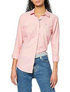 Tommy Jeans Tjw Slim Fit Oxford Shirt Camisa Rosa b07rm3pch6