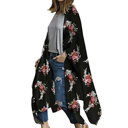 ECOMBOS Kimono largo para mujer con diseño floral b082cxq2dc