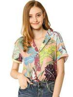 Allegra K Camisa Estampada con Hojas Florales b0861qd7lt