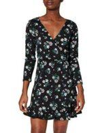 Springfield Vestido Corto Estampado Flores Negro S b08qjpfy87