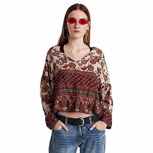 Desigual Blouse Sena Blusas Rojo (Borgoña 3007) L b07n3vxb1p