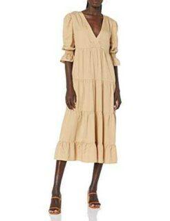 The Drop Vestido para Mujer Belle Midi Escalonado b08r9t9myb