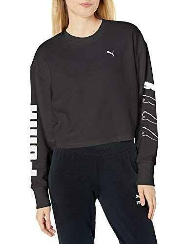 PUMA Women's Relaxed fit Rebel Crew Sweat TR Black L b082thrjm9