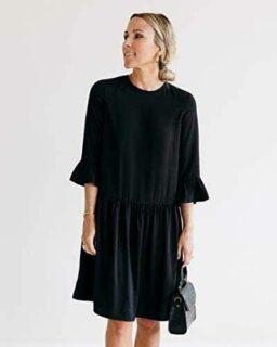 The Drop Vestido para Mujer de Cintura Caída Negro b08yknkv3l