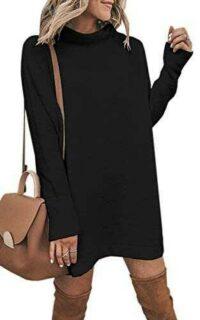 ECOWISH Vestido de punto suelto para mujer cuello b07k2984bj