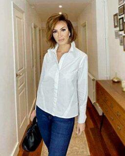 The Drop Camisa para Mujer Abotonada de Puño Doble b08gltj1bt