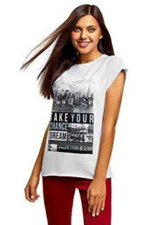 oodji Ultra Mujer Camiseta con Estampado y Borde b01mt7bfkr