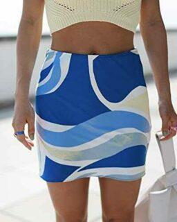 The Drop Minifalda para Mujer Estrecha Estampado b094jdj4jb