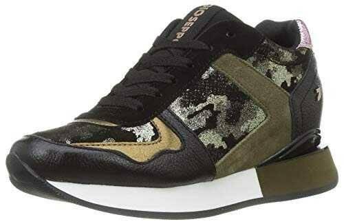 Sneakers Verdes con Print de Camuflaje y cuña b084scg9rj