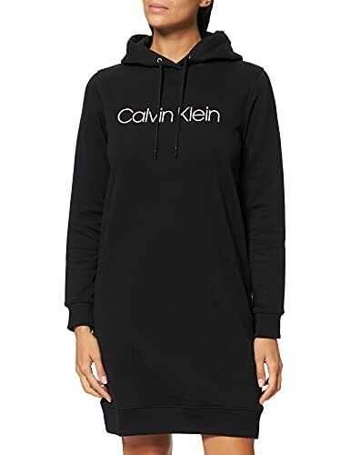 Calvin Klein Core Logo LS Hoodie Dress Vestido CK b08t9f63nf