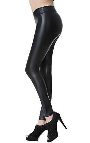 Everbellus Leggins Cuero Pantalón Elastico Negro b077vj3gq9