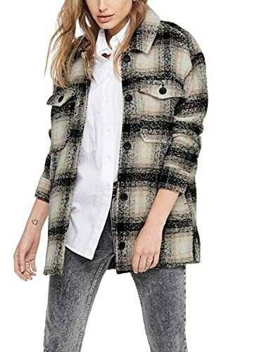 Only Onlallison Check Wool Shacket CC Otw Camisa b089yt5z6y